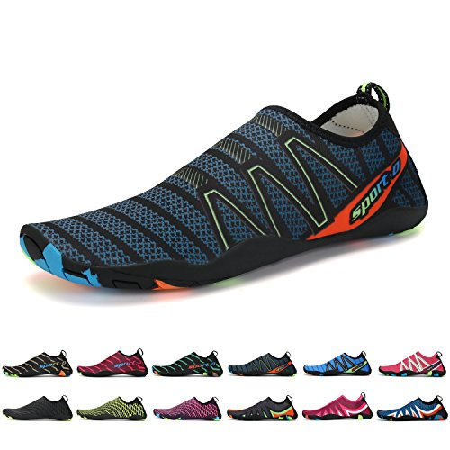 ANLUKE Water Sports Shoes Wading Aqua Slip on For Men Women Kids Black/Navy/Cableway l9YuX7N2DN