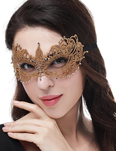 JeVenis Luxury Sexy Lace Eyemask for Halloween Masquerade Party Costume Masquerade Mask for Women (Fifty - Gold)