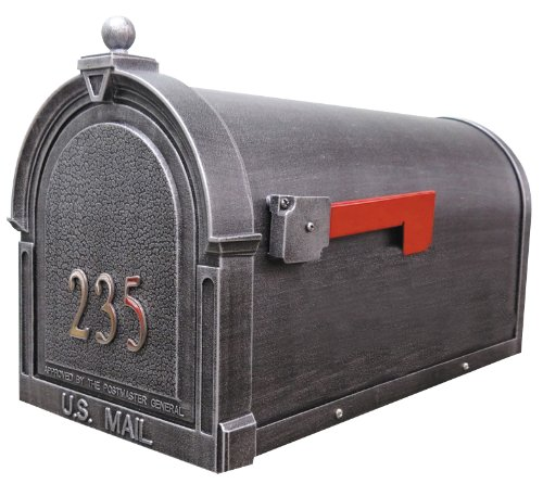 Berkshire SCB-1015-FN-SW Berkshire Curbside Mailbox with Front Numbers-Swedish Silver