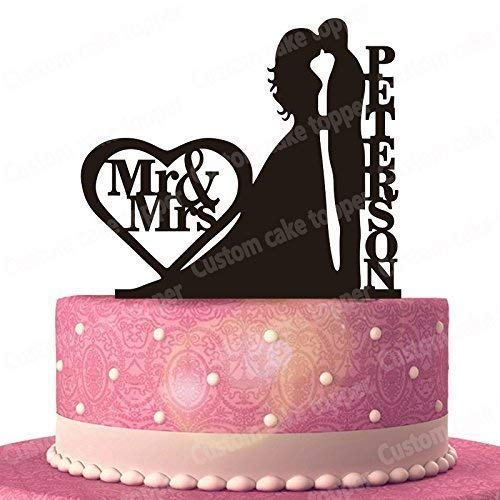 Bride and Groom Kiss Wedding Cake Topper Custom Personalized with Your Last Name