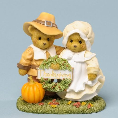 Cherished Teddies Thankful For Life's Blessing Thanksgiving Figurine 4034590 Teddy Bear Couple Pilgrim