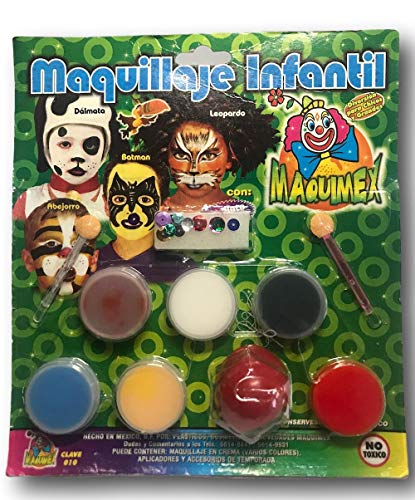 Mexican Sales Face Paint kit, Safe Kids Facepainting, Easy to Paint and wash, Non-Toxic and Hypoallergenic, Washable Paints of 6 Colors, 2 Brushes, Includes a Clown Nose. -