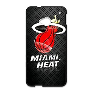 Fitted HTC One M7 Case Miami Heat Logo Background (Laser Technology)-by Allthingsbasketball