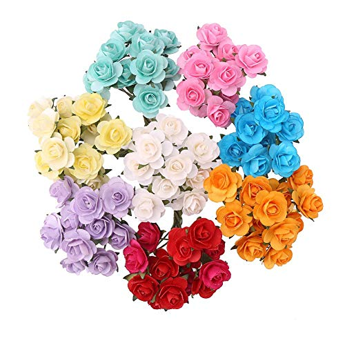 CCINEE 100pcs 3/5 Inch Assorted Colors Mini Paper Flowers Artificial Paper Flowers for Crafts and Decoration 10 Colors