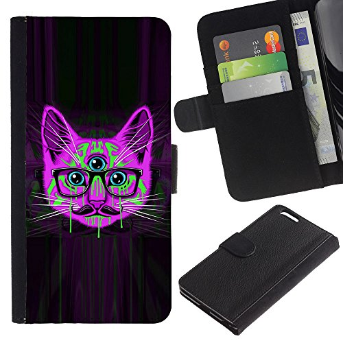 OMEGA Case / Apple Iphone 6 PLUS 5.5 / handlebar smart glasses neon cat purple / Cuir PU Portefeuille Coverture Shell Armure Coque Coq Cas Etui Housse Case Cover Wallet Credit Card