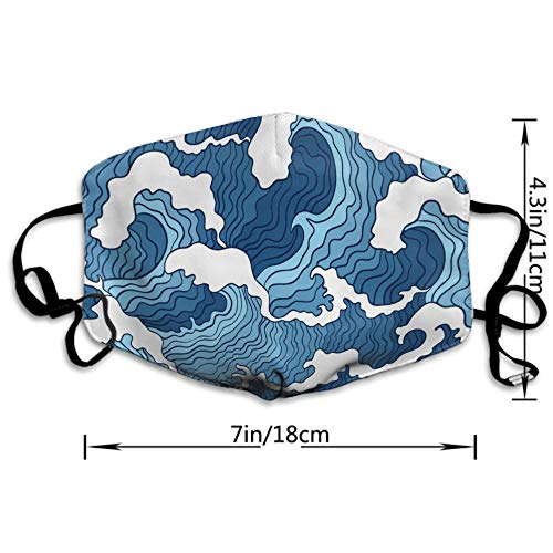 AGRBLUEN Women Men Kids Fashion Adjustable Mouth Mask Anti Dust Pollution Face Mouth Mask Reusable Mouth Masks for Cycling Camping Travel - Japanese Blue and White Ocean Wave