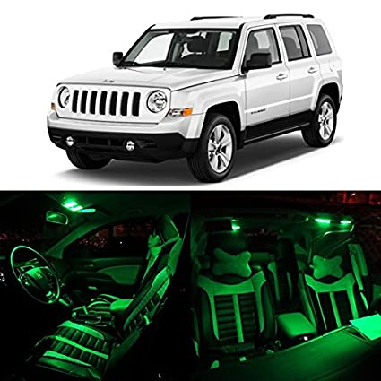 Partsam 2007-2015 Jeep Patriot Green Interior LED Package Kit + Tag +  Reverse Lights (8 Pieces)