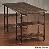 Industrial Desk Rustic Wood And Metal Storage Desk with Shelves For The Home or Office Included MousePad (Bistre Brown)