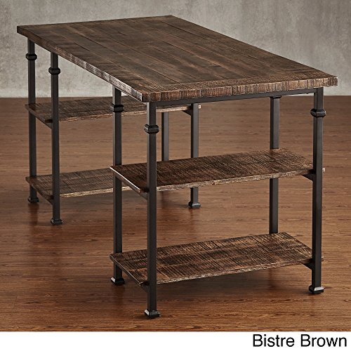 Industrial Desk Rustic Wood And Metal Storage Desk with Shelves For The Home or Office Included MousePad (Bistre Brown) by Myra