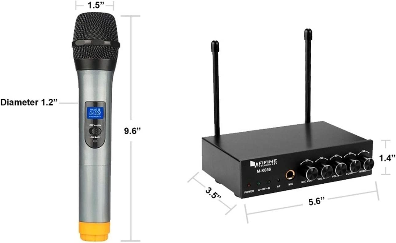 Easy-to-use Karaoke Wireless Microphone System K036 Wireless microphone Dual Channel Wireless Handheld Microphone color : Yellow