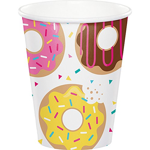 Theme Coffee Design - Creative Converting 322293 96 Count 9 oz Hot/Cold Paper Cups, Donut Time