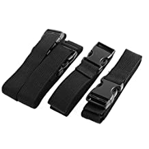uxcell® Travel Suitcase Backpack Quick Release Buckle Cross Luggage Strap Belt 4 Pcs Black
