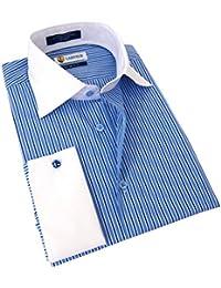 Men's Slim Fit French Cuff Striped Dress Shirt