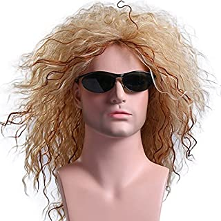 Menoqi Women Mens 70s 80s Costume Wigs Disco Retro Rocker Long Curly Wig Full Hair Wig Fancy Party Accessory Cosplay Wig Mullet Wig (Golden) WIG135