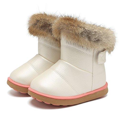CIOR Girl's Winter Warm Snow Boot Fashion Fur Outdoor Slip-O