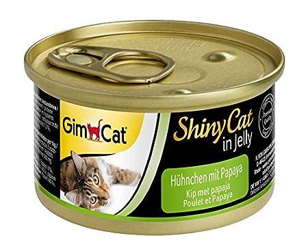 GimCat ShinyCat - Boîtes pour chats en gelée - Avec des morceaux de poulet - Lot de 24 x 70 g 413112 aliment humide alimentation chat alimentation chaton