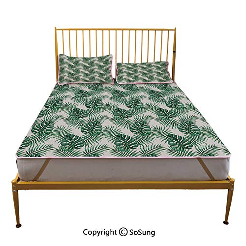 Leaf Creative King Size Summer Cool Mat,Palm Mango Banana Tree Leaves in Tropical Wild Safari Island Jungle Image Artwork Decorative Sleeping & Play Cool Mat,Forest Green