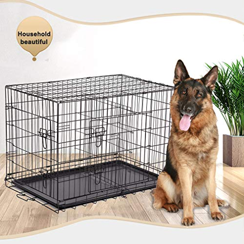 """BestPet Black 48"""" 2 Door Pet Cage Folding Dog w/Divider Cat Crate Cage Kennel w/Tray LC"""