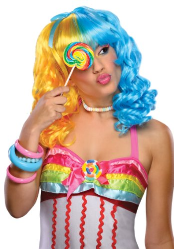 Rubie's Women's Lollipop Yellow and Blue Wig, Multicolor One -