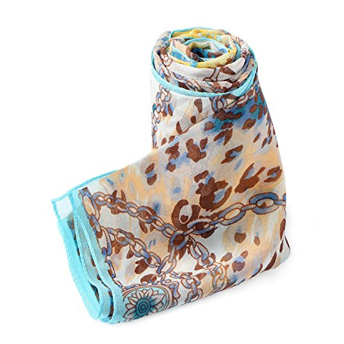 Dormith 100% Mulberry Silk Painted Flowers Chiffon Long Large Scarf 68.921.6inchs (Brown) (Rib Scarf Pattern)