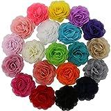 QingHan Little Girls' 3.5'' Chiffon Silk DIY Rosette Wedding Flowers Hair Clips Bows Pack Of 20