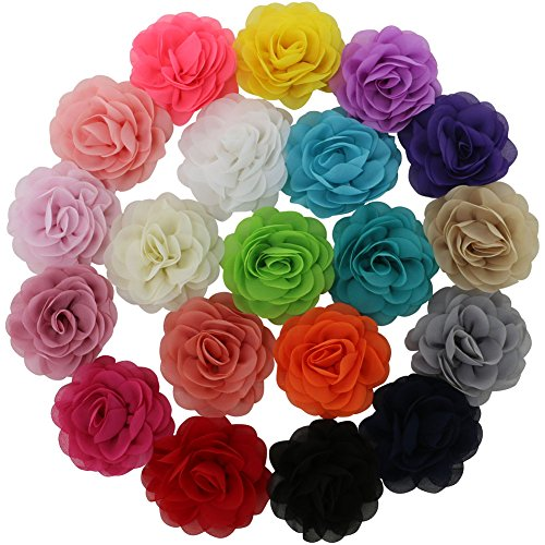 QingHan Little Girls 3.5 Chiffon Silk DIY Rosette Wedding Flowers Hair Clips Bows Pack Of 20