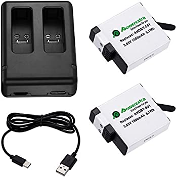 Powerextra Upgraded 2 Pack Battery with Dual Charger for GoPro HERO 6 GoPro HERO 5 Black (Compatible with Firmware v02.51, v02.00, v01.57, v01.55 and Future Updates)