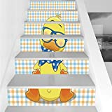 Stair Stickers Wall Stickers,6 PCS Self-adhesive,Cartoon Decor,Hipster Boho Baby Duck with Dotted Bow Cool Free Spirit Smart Geese Artsy Decor,Orange Yellow Blue,Stair Riser Decal for Living Room, Hal