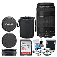 Canon EF 75-300mm f/4.0-5.6 III Lens + 16GB Memory Card + Soft Lens Pouch + 4 Piece Macro Filter Kit + Lens Band + 5 Piece Cleaning Kit + Lens Cap Holder + Deluxe Lens Accessory Bundle