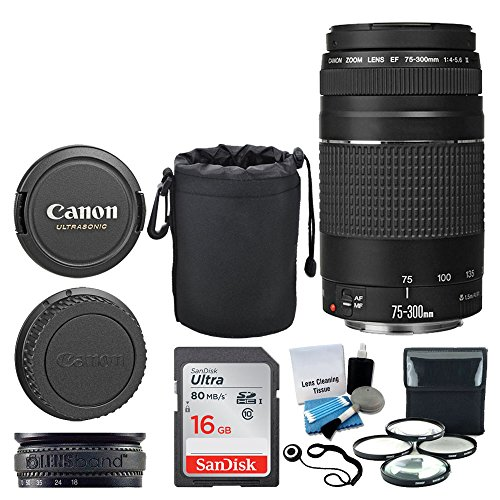 Canon EF 75-300mm f/4.0-5.6 III Lens + 16GB Memory Card + Soft Lens Pouch + 4 Piece Macro Filter Kit + Lens Band + 5 Piece Cleaning Kit + Lens Cap Holder - Deluxe Lens Accessory Bundle by PHOTO4LESS