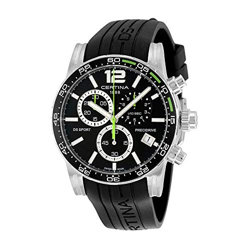 Certina DS Sport Chronograph Black Dial Black Rubber Mens Watch C027.417.17.057.01