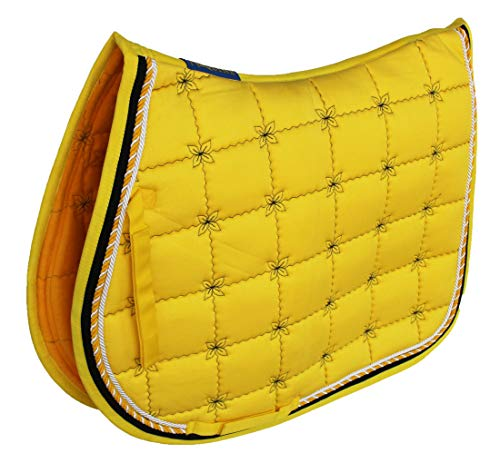 CHALLENGER Horse English Saddle Pad All Purpose Cotton Quilted Trail Saddle Yellow 72134