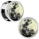 Stainless Steel Moon Glow in the Dark Screw Fit Plug Pair 9/16