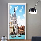 Gzhihine custom made 3d door stickers Turquoise Venice Italy Decor Grand Canal and Basilica Santa Maria Della Salute Print Kids Girls Boys Room Dorm Accessories Turquoise Blue White For Room D