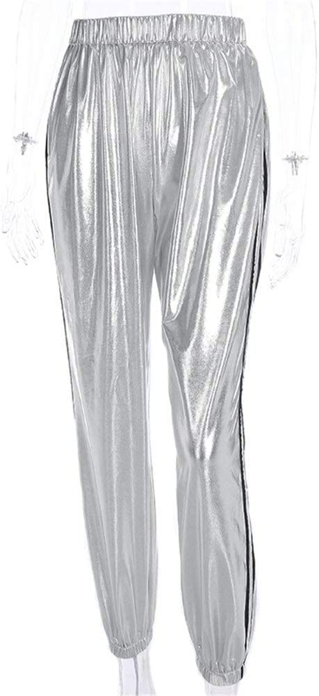 Pantalones de chándal Mujer Pantalones de carga Wetlook Faux ...
