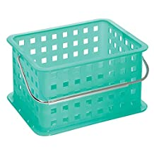 InterDesign Household Storage Basket with Handle for DVDs, Video Games and more - Small, Aruba