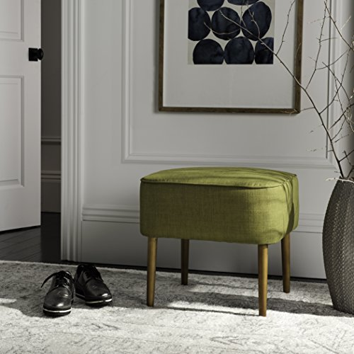 Safavieh Mercer Collection Clara Mid-Century Modern Green Retro Linen Ottoman