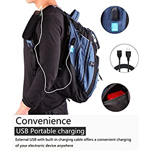Laptop Backpack 15.6-Inch Business College Travel Computer Bag for surface Water-Resistant Waterproof USB Charging Port Slim Light Weight Reflective strip Rain Cover Large Capacity by Ramhorn(blue)