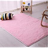 Genius_Baby Super Soft Modern Shag Area Rugs Living Room Carpet Bedroom Rug for Children Play Solid Home Decorator Floor Rug and Carpets (pink)