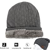 Washable Wireless Bluetooth Beanie Hat Headset Musical Knit Headphone Speakerphone Cap with Build In Stereo Speakers and Mic for Winter Outdoor Sport Skiing Snowboard Jogging Hiking Holiday Gift