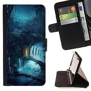 BullDog Case - FOR/Apple Iphone 6 PLUS 5.5 / - / fairytale world magic blue river forest /- Monedero de cuero de la PU Llevar cubierta de la caja con el ID Credit Card Slots Flip funda de cuer