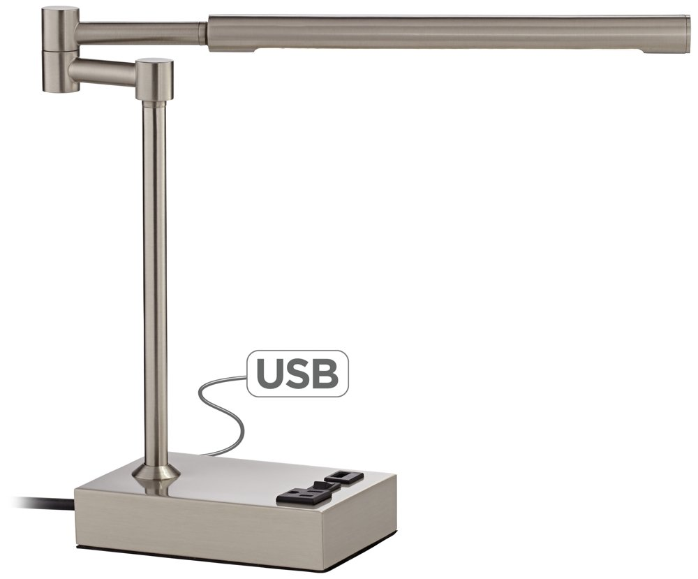 Slimline Swing Arm LED Desk Lamp with Outlet and USB Port by 360 Lighting