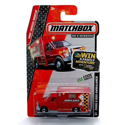 FORD E-350 AMBULANCE (MATCHBOX TRI-COUNTY DEPARTMENT) * MBX Rescue * 2013 Matchbox On A Mission 1:64 Scale Basic Die-Cast Vehicle (#75 of 120)