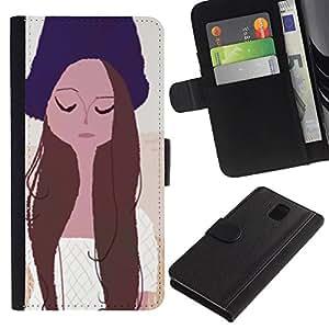 Planetar® Modelo colorido cuero carpeta tirón caso cubierta piel Holster Funda protección Para SAMSUNG Galaxy Note 3 III / N9000 / N9005 ( Girl Portrait Eyes Closed Hat Art Drawing )