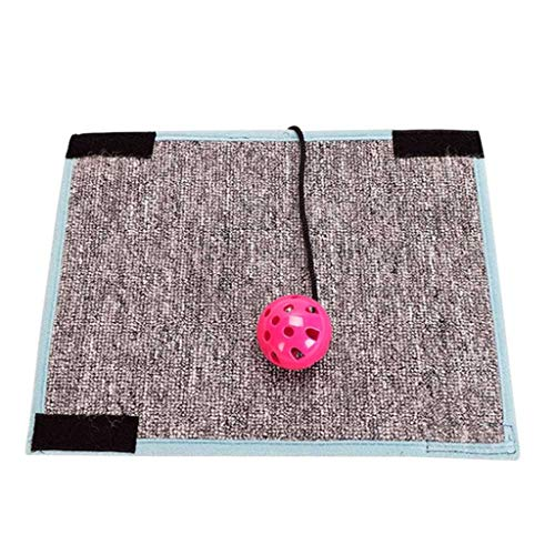 Yxsd Cat Scratch Board Natural Sisal Kitten Mat Toy Climbing Tree Chair Table Mat Furniture Protector Cat Play Toys with Bell Ball (Color : Gray) ()