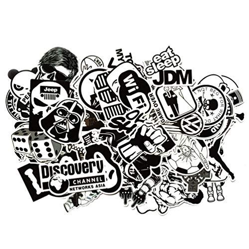 rted Black & White Waterproof Vinyl Stickers, Perfect for Laptop, Phone Case, Helmet, Guitar, Skateboard, Luggage Graffiti, Travel Case, Motorcycle and Bicycle – (B&W) ()