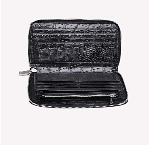 EEKUY Men's Business Clutch, Inside and Outside Crocodile Leather Zipper Wallet Can Hold 22 Card Mobile Phone Banknotes 8.3×0.8×4.5''