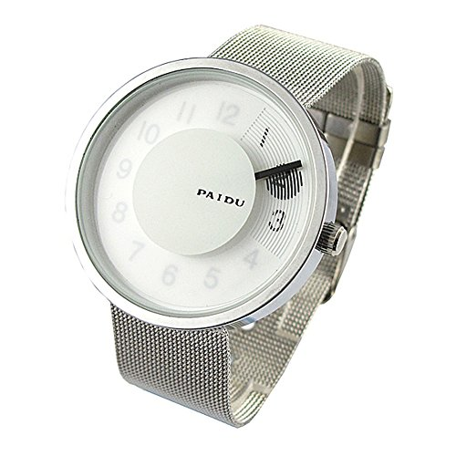 Youyoupifa White Dial Sliver Strap Quartz Watch Fashion Round Face Wrist Watch