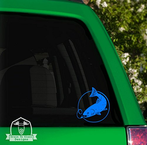 Grain To Glass Designs Rainbow Trout with Lure Vinyl Car Decal - 10