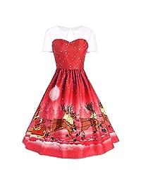 FarJing Christmas Dress, Christmas Women's Vintage Gown Evening Party Dress